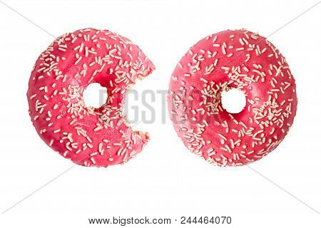 Donut And Bitten Donut Isolated On White Background. Top View.