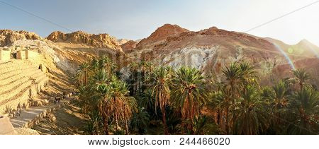 Wide Panorama Of Chebika Oasis With Atlas Mountains In Midday Sun Backlight. Tunisia