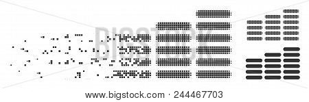 Gray Vector Coin Columns Icon In Dispersed, Dotted Halftone And Undamaged Entire Variants. Disintegr