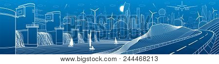 City Infrastructure Industrial And Energy Illustration Panorama. Hydro Power Plant. River Dam. Autom