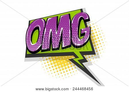 Omg Ouch Oops Wow Comic Text Speech Bubble. Colored Pop Art Style Sound Effect. Halftone Vector Illu