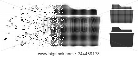 Grey Vector Folder Icon In Dissolved, Pixelated Halftone And Undamaged Whole Variants. Disintegratio
