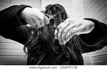 Crazy Woman Trying To Cut Her Hair