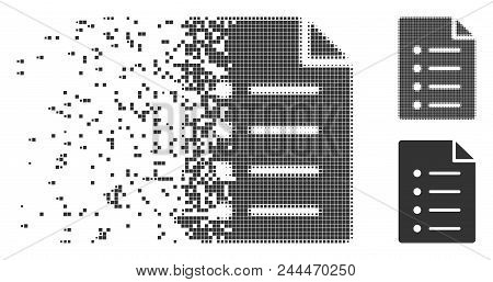 Grey Vector List Page Icon In Fractured, Pixelated Halftone And Undamaged Solid Variants. Disappeari