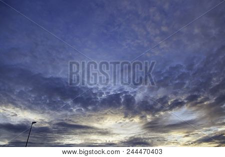 Stormy Sky At Dusk With Street Lamp, Colorful Sky Detail