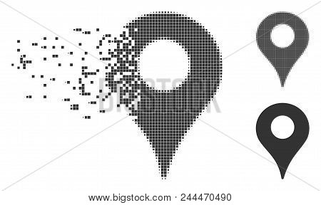 Grey Vector Map Marker Icon In Fractured, Dotted Halftone And Undamaged Solid Versions. Disappearing