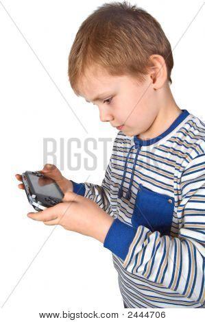 Boy Playing Psp