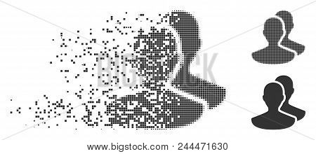 Gray Vector Persons Icon In Dispersed, Dotted Halftone And Undamaged Entire Variants. Disappearing E