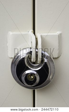 Silver Padlock For Protection And Security, Detail Of Anti-theft System