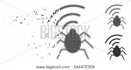 Grey Vector Radio Bug Icon In Fractured, Pixelated Halftone And Undamaged Solid Variants. Disintegra
