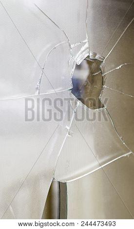 Broken Glass Broken By A Bullet Shot