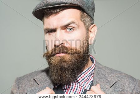 Retro Style - Fashionable Bearded Man In Stylish Retro Clothes. Vintage Fashion Man. Man With Beard