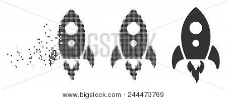 Grey Vector Startup Rocket Icon In Dispersed, Dotted Halftone And Undamaged Entire Versions. Disappe