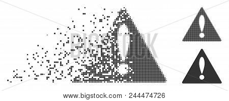 Grey Vector Warning Icon In Dispersed, Pixelated Halftone And Undamaged Entire Versions. Disintegrat