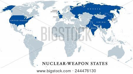 Nuclear-weapon States, Political Map. Eight Sovereign States That Have Successfully Detonated Nuclea