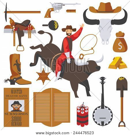 Vector Collection Of Wild West Objects Isolated On White. Man On Bull In Rodeo, Gold Rush Accessorie