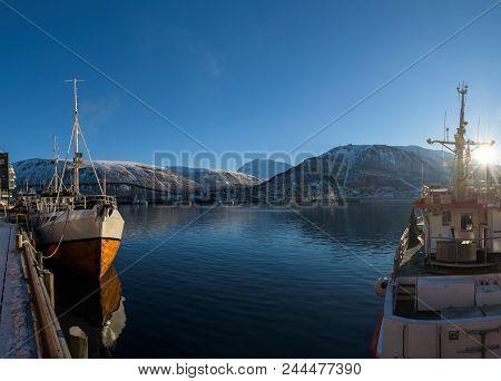 Nice Sailing Ship In The Harbor Of Tromsø On A Sunny Morning, Tromsø, Norway