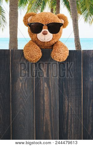 Cute Teddy Bear  Wears Sunglasses On The Beach With Copy Space Wood Background