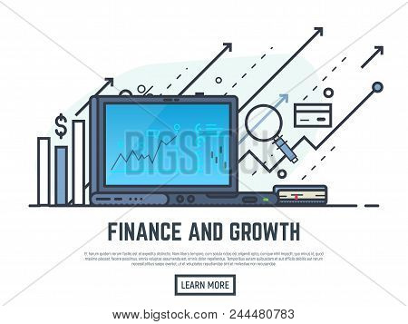 Laptop With Financial Report On Screen. Financial Growth Concept Illustration. Magnifying Glass, Arr