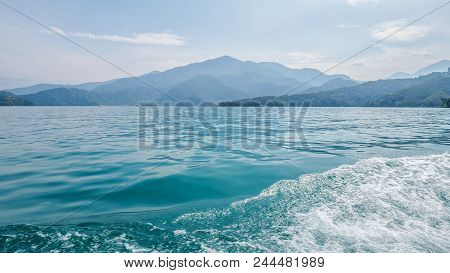Water Surface In The Lake On The Boat With Landscape Of Mountain View At Sun Moon Lake, Nantou City,