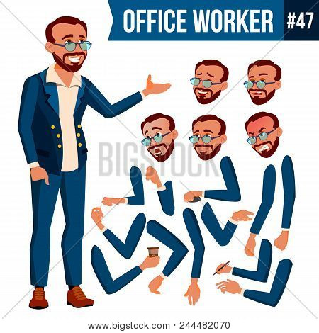 Office Worker Vector. Face Emotions, Various Gestures. Animation Creation Set. Businessman Worker. H