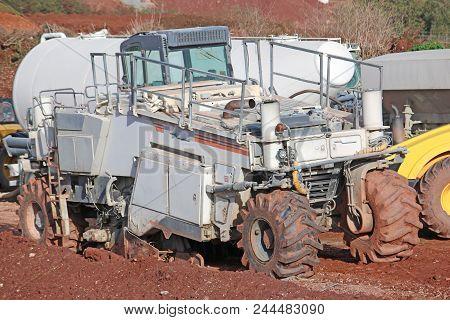 Soil Stabiliser On A Road Construction Site