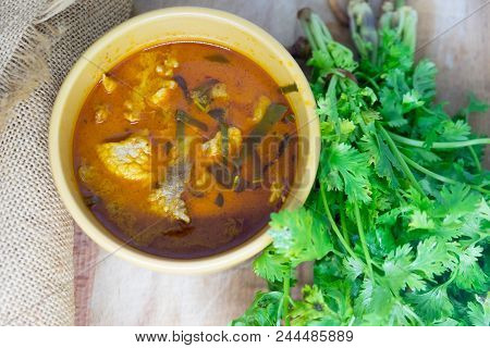 Red Pork Curry (panang) With Vegetable On Wooden Background Thai Food