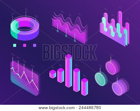 Business Statistic Digital Infographic Charts. Modern Isometric Info Graph. Perfection Percent Cyan