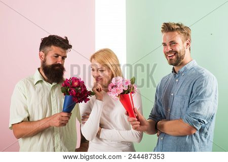 Men Competitors With Bouquets Flowers Try Conquer Girl. Girl Likes To Be In Middle Attention. Love T