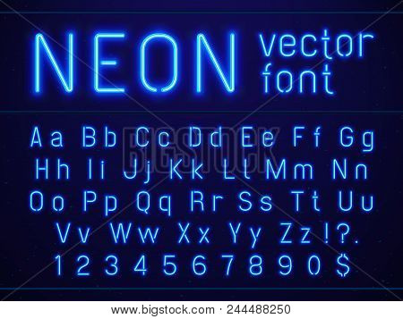 Bright Glowing Blue Neon Alphabet Letters And Numbers Font. Nightlife Entertainments City Light, Mod