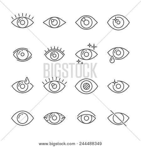 Black Pictogram Of Eyesight Or Looking Eye Line Icons. Eyeball, Watch Bright Light And Human Eyes Wi