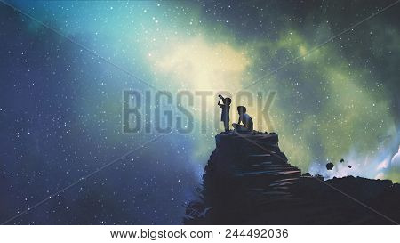 Night Scene Of Two Brothers Outdoors, Llittle Boy Looking Through A Telescope At Stars In The Sky, D