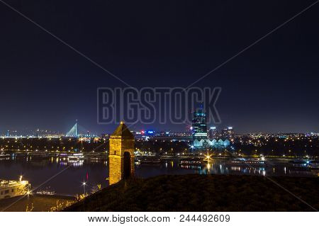 Belgrade, Serbia - February 01, 2015: Skyline Of New Belgrade (novi Beograd) Seen By Night From The