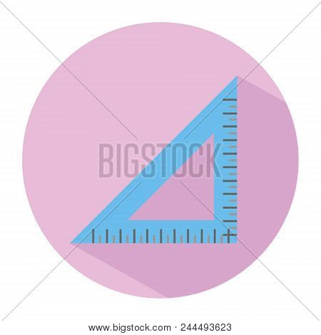 Icon Of A Right Triangle Ruler In Flat Style. Vector Illustration. School, Maths And Drawing Concept