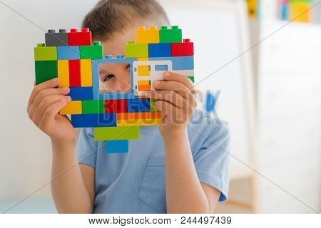 Plastic Toy Blocks, Designer Of Children's Toys. Bright Building Blocks In The Shape Of A Heart In C