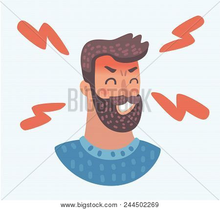 Vector Cartoon Beard Man Face, Angry Facial Expression On White Background. Handsome Character Frown