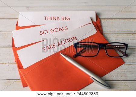 Set A Goal, Think Big And Take Action - The Concept Of Successful Actions For A Startup. Red Letter
