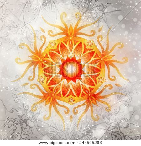 Color Ornamental Mandala And Softly Blurred Watercolor Background. Sacral Chakra