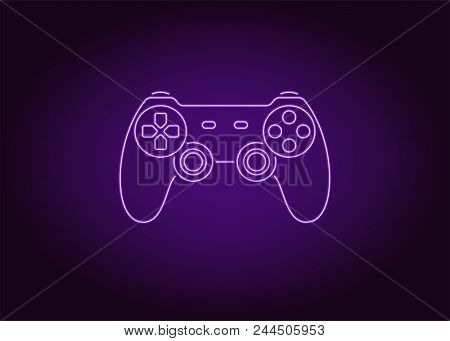 Neon icon of Violet Joystick. Vector illustration of Violet Wireless Gamepad consisting of neon outlines. Neon Gaming Joystick with backlight on the dark background poster