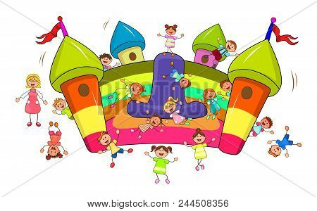 Happy Children Play And Jump On The Inflatable Slide. Joyful Little Children And A Teacher.  Cartoon