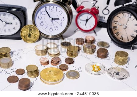 Abstract Photo Of Crypto-cyrency And Time. A Lot Of Clocks Isolated On White Background.