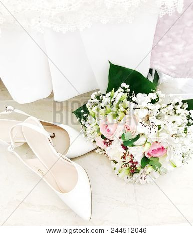 Wedding Shoes And Wedding Bouquet Color Images Stock Photos