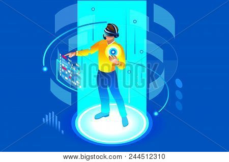 Into The Future, Isometric Man Wearing Technology And Touching Virtual Reality, Augmented Vr. Gadget