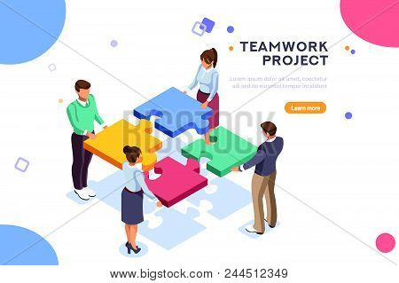Conceptual Web Seo Illustration. Landing Page For Stylish Website. Teamwork Project, Web Agency Or M