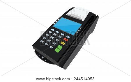 Payment Terminal For Mobile Payment Service - Flat Style - Art Vector