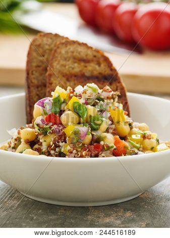 Vegan Quinoa Salad With Chickpeas And Herbs