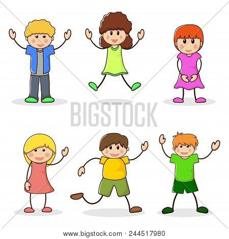 Happy Girls And Boys. Set Of Cartoon Characters Kids. Cute Teenagers Laughing. School Children Line