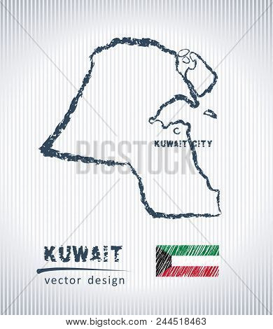 Kuwait Vector Chalk Drawing Map Isolated On A White Background