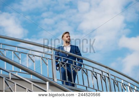 Businessman Attractive Appearance Looks Successful. Freedom Concept. Man Confident And Well Groomed