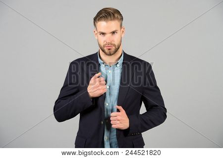 Formal Menswear Concept. Man Bearded Strict Face Wears Formal Clothes, Grey Background. Man With Bea